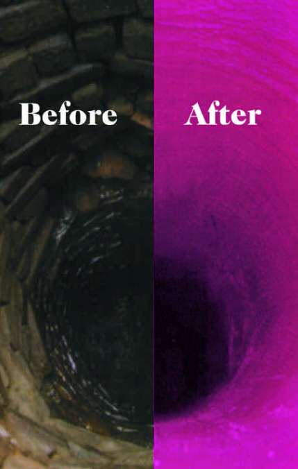 Before and after wastewater lining